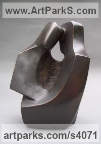 Bronze Resin Couples or Group sculpture by John Brown titled: 'Safekeeping (Modern abstract Embracing Lovers sculptures)'