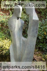 Bronze Resin Abstract Contemporary Modern Outdoor Outside Garden / Yard sculpture statuary sculpture by sculptor John Brown titled: 'Secrets (abstract Couple Sharing Outdoor garden sculpture)'