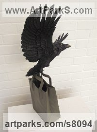Bronze Garden Bird and Animal sculpture by John Douglas Joyce titled: 'Crow sculpture (Black Bronze for Indoor or Outdoor installation)'