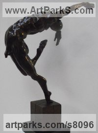 Bronze Dance Sculptures and Ballet sculpture by John Douglas Joyce titled: 'Danseur (SmallMale nude Wild Dynamic Dancer sculpture statue statuette)'