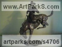 Bronze Horse and Rider / Jockey Sculpture / Equestrian sculpture by John Ellison titled: 'Rodeo (American Bucking Bronco/Horse/Stallion statuette/figurine/statue)'
