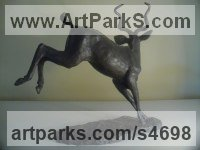Bronze Small Animal sculpture by John Ellison titled: 'Startled Male Kudu (African Deer/Buck statuette/statue/sculpture)'