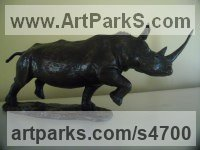 Bronze African Animal and Wildlife sculpture by John Ellison titled: 'White Rhino (Small/Little bronze Realistic sculpture/statuettes/statue)'