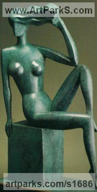 Bronze Arte Deco style Abstract Stylised Contemporary Modern sculpture by John Huggins titled: 'Harmony (life size Bronze stylised nude Girl sitting sculpture/statue)'