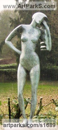 Bronze Human Form: Abstract sculpture by John Huggins titled: 'Morning (Contemporary Arte Deco Standing garden statue)'