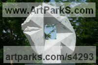 Carrara Medielle Marble Architectural sculpture by Jon Barlow Hudson titled: 'Synchronicity II (Modern abstract Architectural stone statue Symmetric)'