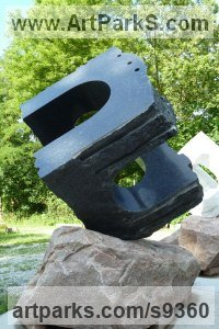 Wisconsin granite Abstract Contemporary or Modern Outdoor Outside Exterior Garden / Yard Sculptures Statues statuary sculpture by Jon Barlow Hudson titled: 'UNCARVED BLOCK WI : TAI CHI'