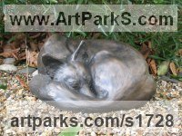 Bronze Dogs Wild, Foxes, Wolves, Sculptures / Statues sculpture by Jon Bickley titled: 'Sleeping Fox (bronze Dozing life size Curled Up statue)'