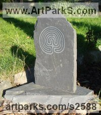 Welsh Slate, Hand Carved Carved and Engraved Lettering Writing Inscriptions Poems Quotations Carving Panels sculpture by sculptor Jon Evans titled: 'Celtic Labyrinth (Small Bas/Low relief Traditional Carved Slates/Panel)'