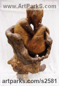 Hand carved Cherry wood Animals in General sculpture sculpture by sculptor Jon Evans titled: 'Faun'