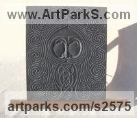 Hand carved Aberllefenni Slate (Welsh slate) Gods or Goddess, or Deity sculpture by Jon Evans titled: 'Gwydion (Celtic Slate Carved Face Bas Relief sculpture)'