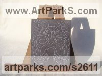 Hand carved Heather Grey Slate (Welsh) Celtic Knot Work and Traditional sculpture by Jon Evans titled: 'Heather Grey (Traditional Green Man Slate Relief Carving)'
