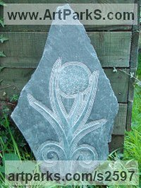 Bas Reliefs or Low Reliefs by sculptor artist Jon Evans titled: 'Onion in Flower Slate Bas Relief Carving Vegetable Flower Wall Hanging' in Hand carved aberllefenni slate (welsh slate)