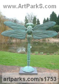 Insect Sculpture, to include Bees, Ants, Moths Butterflies etc by sculptor artist Jonathan Hateley titled: 'Balletic (Big/Large bronze Dragonfly garden/Yard sculpture)' in Bronze