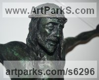 Bronze Religious sculpture by sculptor José Miguel Franco de Sousa titled: 'Christ Crucified (Small Crucficition statue)'