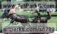 Bronze Horses Heavy / Working Shire, Plough, Dray, Barge, Horses Sculptures Statues statuettes commissions sculpture by Jos� Miguel Franco de Sousa titled: 'Driving (Little Carriage Galloping Flat Out statuette)'