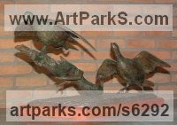 Bronze Game Birds including Pheasant Capercaillie Partridge Black Cock Ptarmigan Grouse Snipe Duck Geese Woodcock sculpture by sculptor José Miguel Franco de Sousa titled: 'Partridges (Pair Bronze Partridges Taking Off sculpture)'