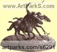 Bronze Horses Small, for Indoors and Inside Display Statues statuettes Sculptures figurines commissions commemoratives sculpture by Jos� Miguel Franco de Sousa titled: 'Polo Players (bronze small Ponies statue)'