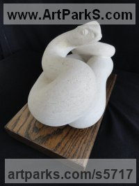 Ancaster Limestone mounted on Oak Carved Stone, Marble, Alabaster, Soap Stone Granite Lime stone sculpture by sculptor Joseph Hayton titled: 'Adder (Small Carved Lime stone Snake or Serpent sculpture)'