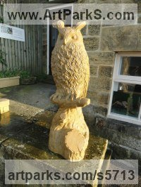 York stone Birds of Prey / Raptors sculpture by sculptor Joseph Hayton titled: 'Eagle Owl (Carved stone Perched Bird of Prey sculptures)'