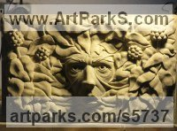 York stone Wall Mounted or Wall Hanging sculpture by Joseph Hayton titled: 'Green Man (Ivy Hand carved York stone sculpture)'