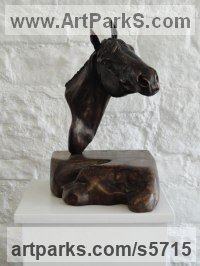 Bronze mounted on Burr Elm Horse Sculpture / Equines Race Horses Pack HorseCart Horses Plough Horsess sculpture by sculptor Joseph Hayton titled: 'Pride (Bronze Horse Head Bust Wall Mounted statue)'