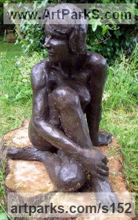 Bronze resin Sculptures of females by Judy Ann Cropper titled: 'Helen (nude Sitting in Sun Yard/garden sculptures/statues/statuary)'