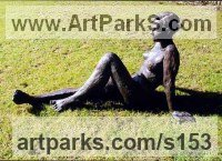 Bronze resin Sculptures of females by Judy Ann Cropper titled: 'This n` That (bronze resin nude Student Girl garden sculpture statue)'