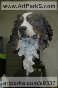 Bronze Domestic Animal sculpture by Judy Boyt titled: 'Bearnese Mountain Dog (Bust Head Portrait sculpture statue)'
