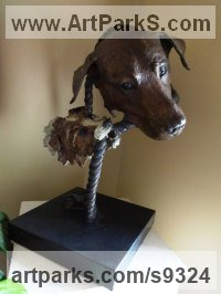 Bronze Dogs sculpture by Judy Boyt titled: 'Boddinton and Tolley Lab and Terrier (b Bronze statue Lifelike)'