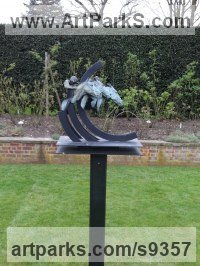 Bronze and Steel Sculptures of Sport in General by Judy Boyt titled: 'By a Head (Bronze Race Horses Stylised sculpture statue)'