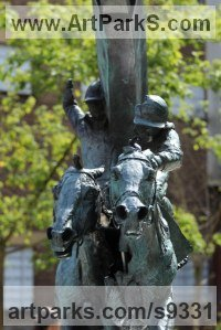 Bronze Horse and Rider / Jockey Sculpture / Equestrian sculpture by sculptor Judy Boyt titled: 'Evocation of Speed in the Derby Square'
