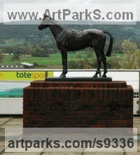 Bronze Horse and Rider / Jockey Sculpture / Equestrian sculpture by Judy Boyt titled: 'Golden Miller at Cheltenham Racecourse'