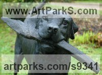 Bronze Resin/Cold Cast Domestic Animal sculpture by Judy Boyt titled: 'Sammy just a little stick (Bronze Labrador Dog sculpture)'