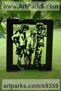 Steel Children Playing Sculptures or Statues or statuettes sculpture by Judy Boyt titled: 'Thinking inside the box'