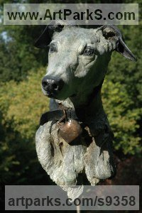Bronze Dogs sculpture by Judy Boyt titled: 'With a glint in his eye'