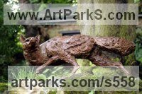 Bronze Dogs Wild, Foxes, Wolves, Sculptures / sculpture by sculptor Kate Denton titled: 'Out Foxed (Bronze Stalking life size garden/Yard statue/sculptures)'