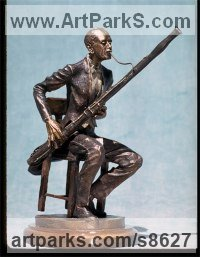 Bronze Musician and Musical sculpture by Kathleen Friedenberg titled: 'Fagotto (Small Fun Bassoonist Bronze statue)'