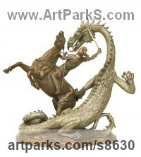Bronze Mythical sculpture by Kathleen Friedenberg titled: 'Legend (Small St George Dragon Horse statue)'