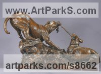 Bronze Humorous Witty Amusing Lighthearted Fun Jolly Whimsical Sculptures Statues statuettes figurines sculpture by Kathleen Friedenberg titled: 'Mine (Little Dogs Playing Frisking statuette)'