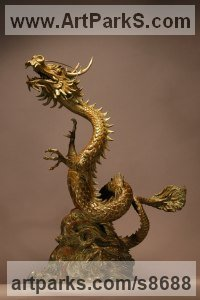 Bronze Fantasy sculpture or Statue sculpture by Kathleen Friedenberg titled: 'Lucky Dragon (Writhing Oriental Chinese statue)'