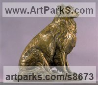 Bronze Commission and Custom and Bespoke sculpture Statues sculpture by Kathleen Friedenberg titled: 'Sheltie (Shetland Sheepdog Sitting sculpture)'