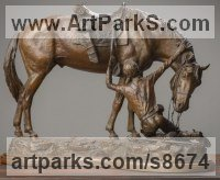 Bronze Military, Soldiers, Sailors, Marines Airmen and Military Equipment sculpture by Kathleen Friedenberg titled: 'The Bond (Love between Horse and Rider statue)'