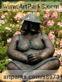 Bronze Resin Pregnant and post Pregnant Women or Females sculpture by Kay Singla titled: 'Content. Seated Woman (Sitting garden Yard sculptures)'
