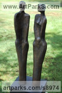 Bronze Resin Indoor figurative sculpture by Kay Singla titled: 'Happy Together (Contemporary abstract Couple Yard statue)'