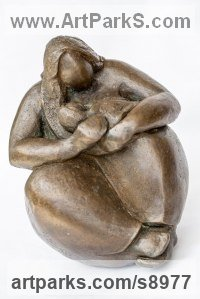 Bronze Resin Females Women Girls Ladies Sculptures Statues statuettes figurines sculpture by Kay Singla titled: 'Mothers Love and Blessing (Mother and Baby Seated statue)'