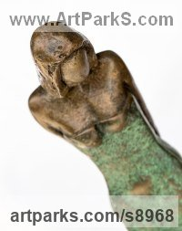 Bronze Resin Small / Little Figurative sculpture / statuette / statuary / ornament / figurine sculpture by Kay Singla titled: 'My Girl (Contemporary abstract female statuette)'