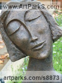 Bronze Resin Contemplative, Restful, Thougtful sculpture by Kay Singla titled: 'Pretty Woman (Serine Happy female Bust statue)'