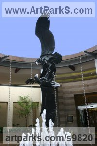 Birds of Prey / Raptors sculpture by Keith Calder titled: 'Black Eagles'