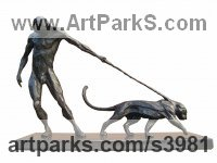 Bronze Cats Wild and Big Cats sculpture by Keith Calder titled: 'Denial (Small Stylised nude Man)'